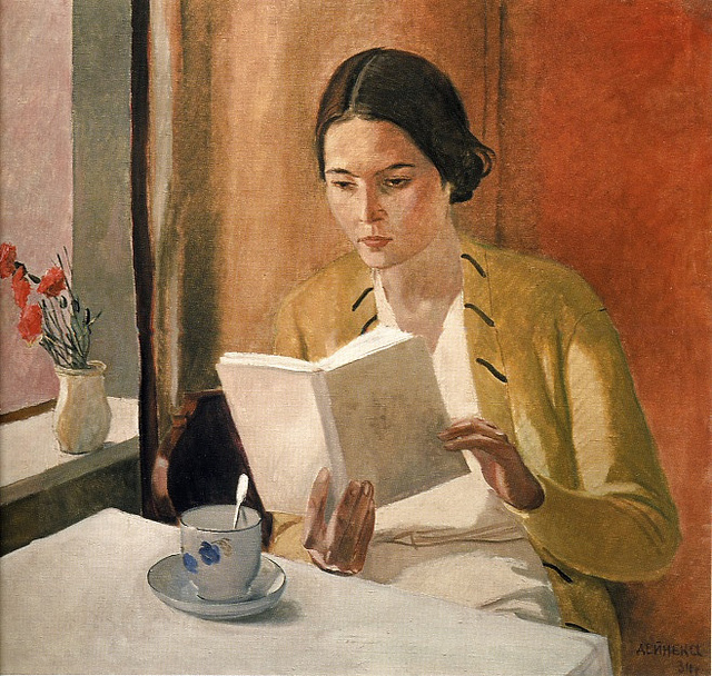 young woman with book 1934 aleksandr aleksandrovich deinka