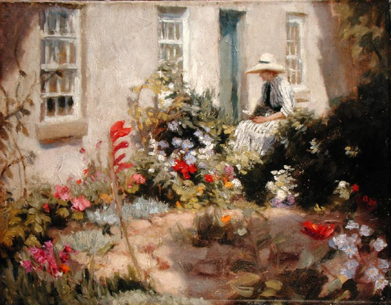 Woman Reading in a Garden, Harold Harvey, 1900