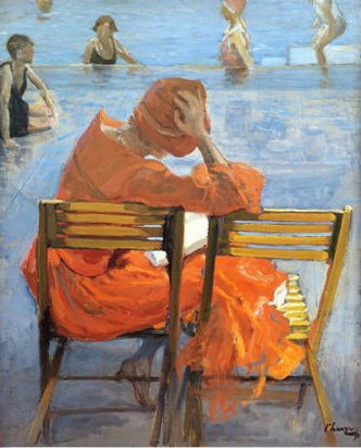 girl in Red Dress reading by a swimming pool by sir john lavery