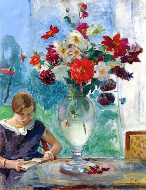 Girl reading and a vase of flowers by Henry Lebasque 1915 circa