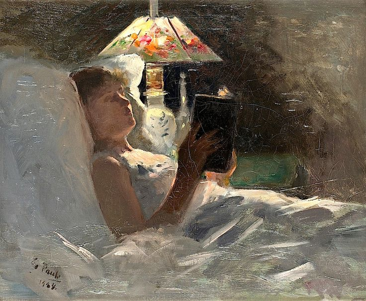 Georg Pauli 1855 1935 by the reading lamp
