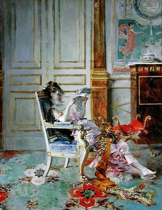 Giovanni Boldini Girl reading in a Salon