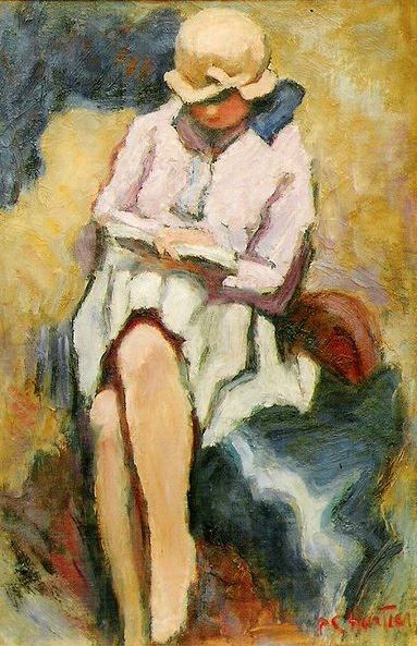 woman reading letters and books by Pierre Chartier