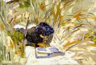 Edouard Vuillard woman reading in the reeds