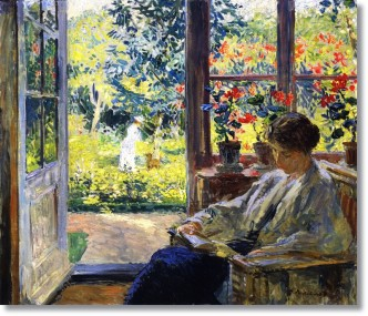 Gari Melchers woman reading by a window