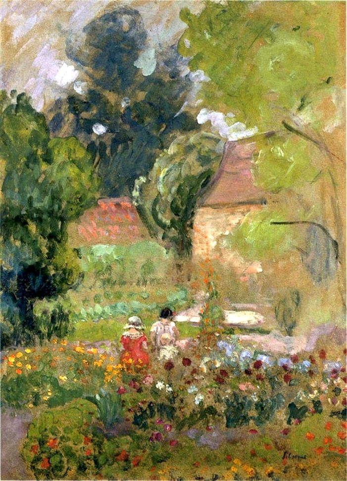 Henri Lebasque young woman reading in the garden