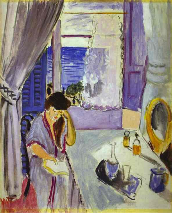 Henry Matisse woman reading at a dressing table 1919