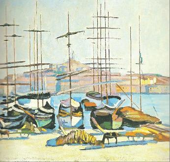 Camoin porto di Marsiglia e chiesa